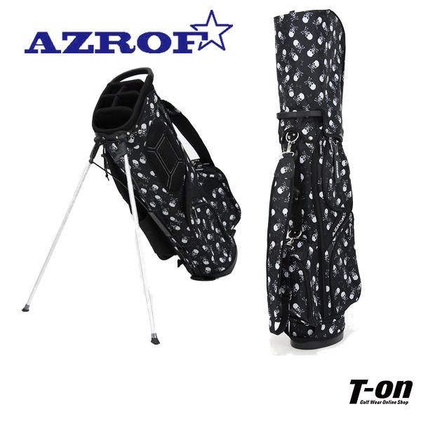 アズロフ AZROF メンズ レディース キャディバッグ スタンド式キャディバッグ 9型 軽量 スカル柄 クールなモノトーンデザイン かっこいい 【送料無料】 ゴルフ