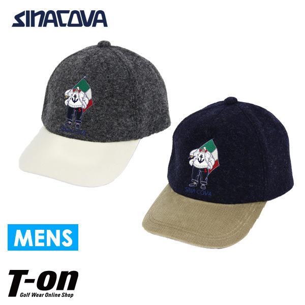 シナコバ SINACOVA メンズ キャップ ウール×コーデュロイ キャプテン刺繍 サイズ調節可能 2018 秋冬 新作 ゴルフ