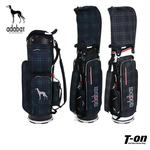 アダバット adabat メンズ レディース キャディバッグ 9型 軽量 取り外し可能ポーチ付き タータンチェック柄 サルーキー犬ワッペン 【送料無料】 ゴルフ