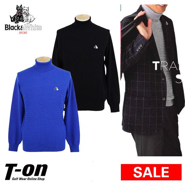 【30%OFF SALE】ブラック&ホワイト Black&White メンズ セーター タートルネック ハイネック ウール100% バスケット編み テリア刺繍 【送料無料】 ゴルフウェア