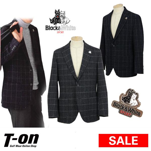 【30%OFF SALE】ブラック&ホワイト Black&White メンズ ジャケット 2つボタンジャケット ブレザー ピンバッジ付き グラフチェック柄 【送料無料】 ゴルフウェア