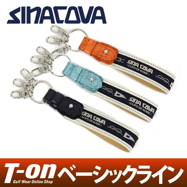シナコバ SINACOVA メンズ レディース キーホルダー キーリング ストラップ 牛革使用 切り替えデザイン ロゴ刺繍  ゴルフ