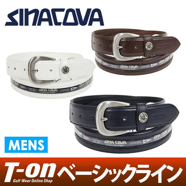 シナコバ シナコバゴルフ SINACOVA メンズ ベルト 牛革×ロゴラインテープ ベルトカット可能 【送料無料】 ゴルフ
