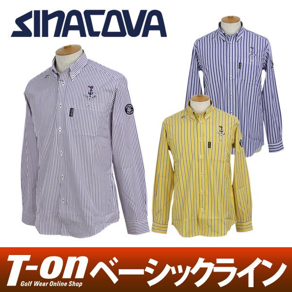 シナコバ サルジニア SINACOVA SARDEGNA メンズ カジュアルシャツ 長袖ボタンダウンシャツ 綿100% マリンモチーフ刺繍 ストライプ柄 ロゴワッペン 【送料無料】 ゴルフウェア