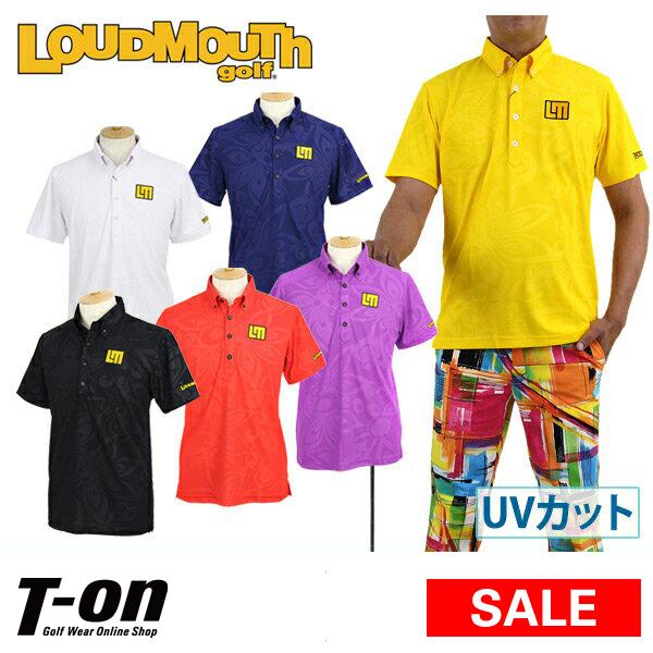 ラウドマウス ゴルフ LOUDMOUTH GOLF 日本正規品 日本規格 メンズ ポロシャツ 半袖 ボタンダウンシャツ UVカット ストレッチ 吸汗速乾 シャガデリック柄 シャドープリント  ゴルフウェア