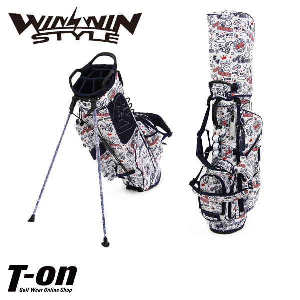 ウィンウィンスタイル WINWIN STYLE メンズ レディース キャディバッグ スタンド式キャディバッグ 9型 47インチ対応 背負えるショルダーベルト付き 軽量 ポップなニコちゃんプリント 【送料無料】 ゴルフ