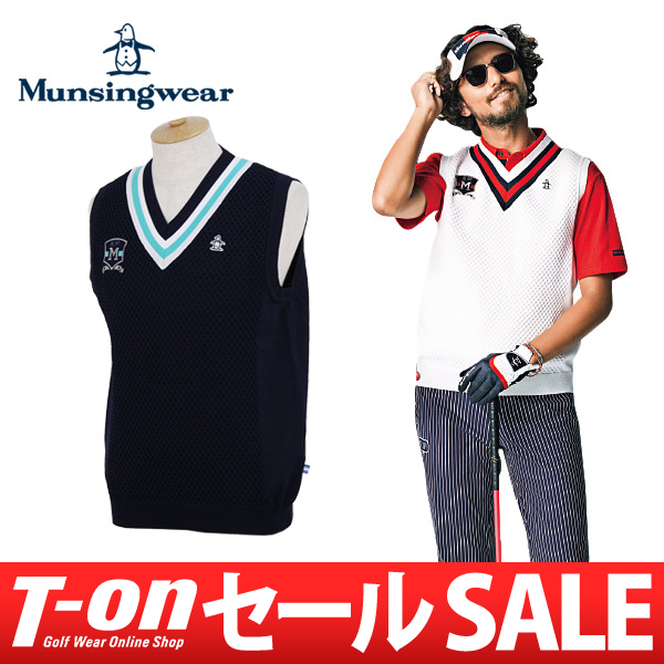 【30%OFF SALE】マンシングウェア Munsingwear メンズ ベスト Vネック ニットベスト M~3Lまでご用意 配色ライン エンブレムワッペン プレッピー風 家庭洗濯可能 【送料無料】 2018 春夏 新作ゴルフウェア