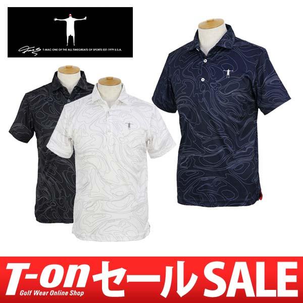 【30%OFF SALE】ティーマック T-MAC メンズ ポロシャツ 半袖 吸汗速乾 流線グラフィックデザイン ホリゾンタルカラー 2018 春夏 新作 ゴルフウェア