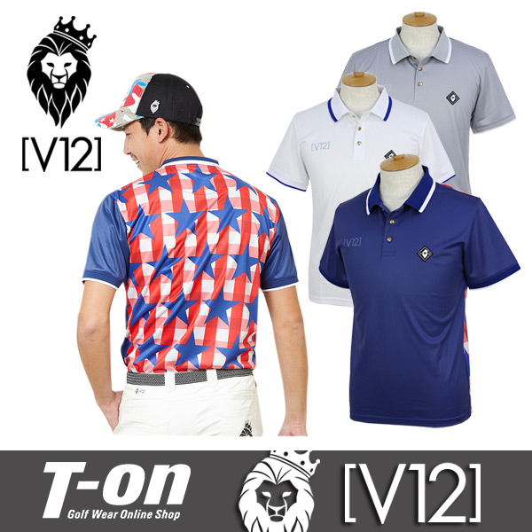 V12 ゴルフ ヴィ・トゥエルブ メンズ ポロシャツ 半袖 チェック柄 スター柄 ラバーワッペン付き 【送料無料】 ゴルフウェア