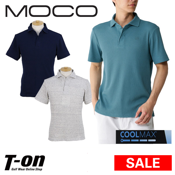 【40%OFF SALE】モコ MOCO スツールズ STOOLS メンズ ポロシャツ 半袖ポロシャツ ワッフル素材 クールマックス ロゴ刺繍 ゴルフウェア