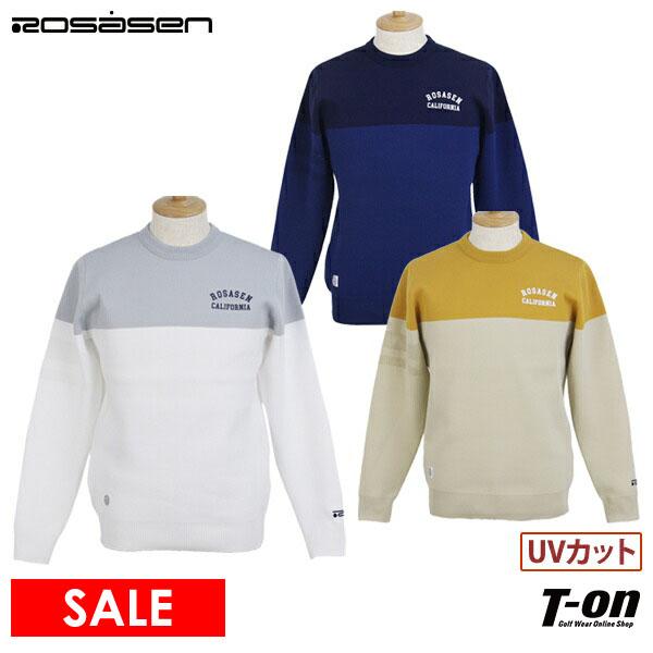 2021 秋冬 新作 胸囲110cmまでご用意 UVカット お値打ち価格で ロサーセン ROSASEN メンズ メッシュライン バイカラーニット 送料無料 ロゴプリント ゴルフウェア 軽量ポリエステル素材 セーター 大好評です