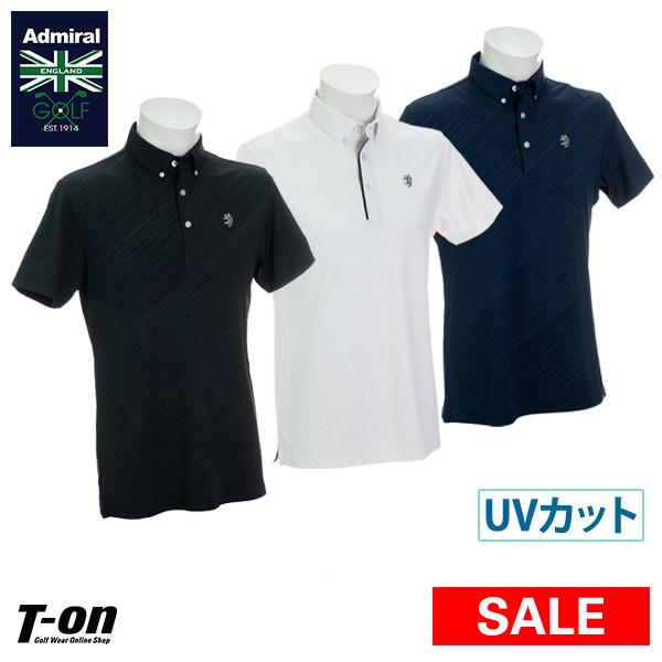 アドミラルゴルフ Admiral Golf 日本正規品 メンズ ポロシャツ 半袖 ボタンダウンシャツ M~3Lまで UVカット 吸水速乾 ストレッチ バイアスシャドープリント 【送料無料】 2019 春夏 新作 ゴルフウェア