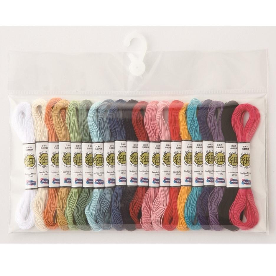 10mのかわいいかせ糸が20色分入った刺し子糸のコレクション .オリムパス 刺し子糸 休日 細 休日 ミニコレクション 10mカセ 刺繍 技法 刺しゅう 全20色セット さしこ