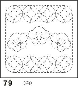 オリムパス製絲 刺し子 花ふきん 布パック 梅と丸七宝(うめとまるしっぽう) 白 和柄 79