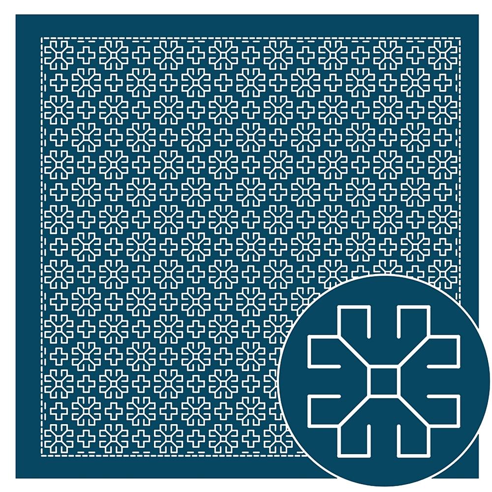 正規品送料無料 美しい針目の一目刺し ひとめざし 印刷された図案は洗うと消えます .新色 オリムパス 刺し子 出色 花ふきん 布パック マーガレット 技法 刺繍 オリジナル柄 刺しゅう H-2054 一目刺し さしこ 藍
