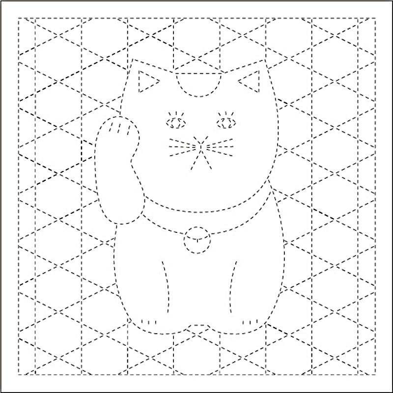 DARUMA 教材 レクリエーション 物品 作業療法にもおすすめ 期間限定クーポン対象 .横田 ダルマ 刺し子 ふきん 登場大人気アイテム 招き猫と籠目 さしこ イラスト 伝統柄 技法 1054 刺しゅう + 白 模様刺し 刺繍