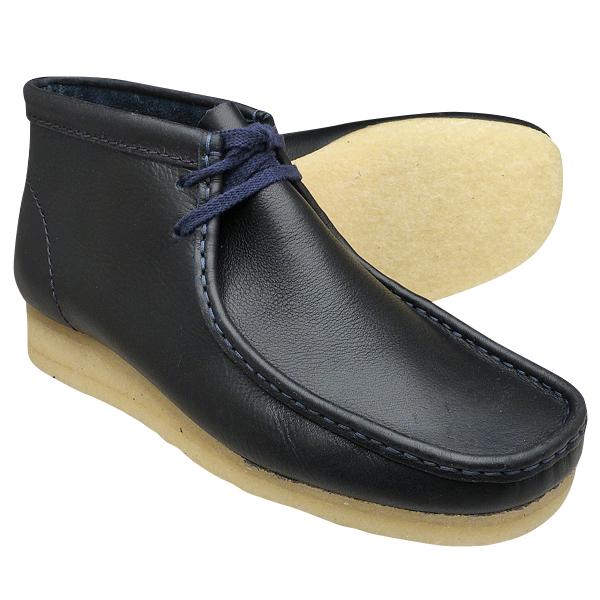 クラークス ワラビーブーツ ネイビータンブルドレザー CLARKS WALLABEE BOOT 26125545 Navy Tumbled Leather ≪USA直輸入・正規品≫ メンズ ブーツ クラークス