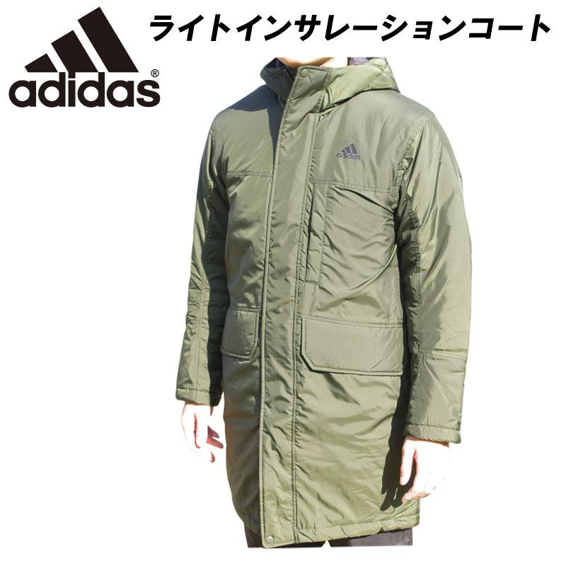 即納可! adidas(アディダス)ライトインサレーションジャケット ロングコート ベンチコート 防寒 スポーツウェア トレーニングウェア eyu99