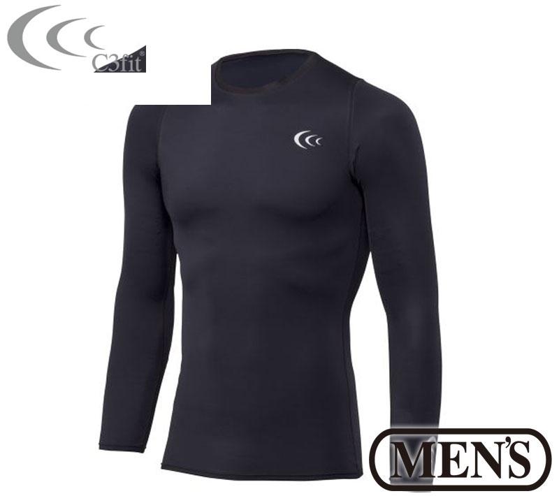 C3fit(シースリーフィット)インスピレーションロングスリーブ(メンズ) インナー アンダーシャツ スポーツウェア トレーニングウェア 紫外線 UVカット 3f07100