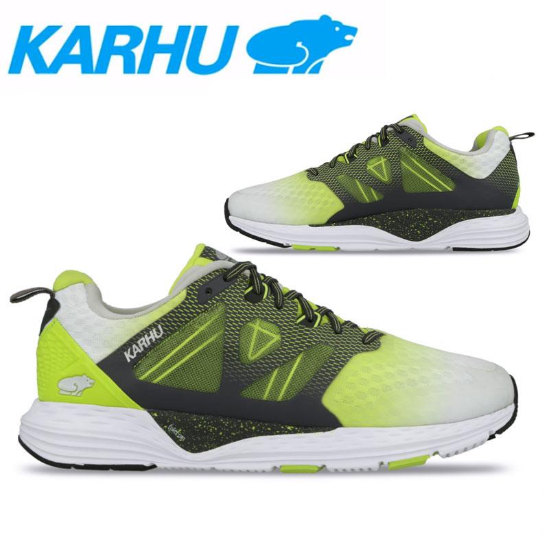 KARHU(カルフ)フュージョンオルテックス ランニングシューズ マラソン ジョギング メンズ 男性用 長距離 靴 ビギナー 初心者 ホワイト/ライムパンチ/アスファルト kh100242