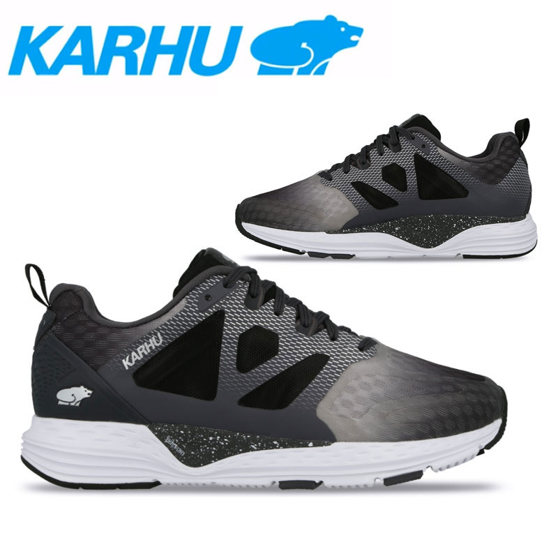 KARHU(カルフ)フュージョンオルテックス ランニングシューズ マラソン ジョギング メンズ 男性用 長距離 靴 ビギナー 初心者 ジェットブラック/ペリスコープ/シルバー kh100244