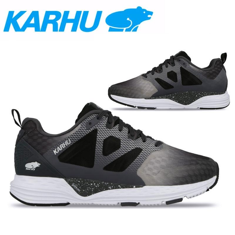 KARHU(カルフ)フュージョンオルテックス ランニングシューズ マラソン ジョギング レディース 女性用 靴 ジェットブラック/ペリスコープ/シルバー kh200244