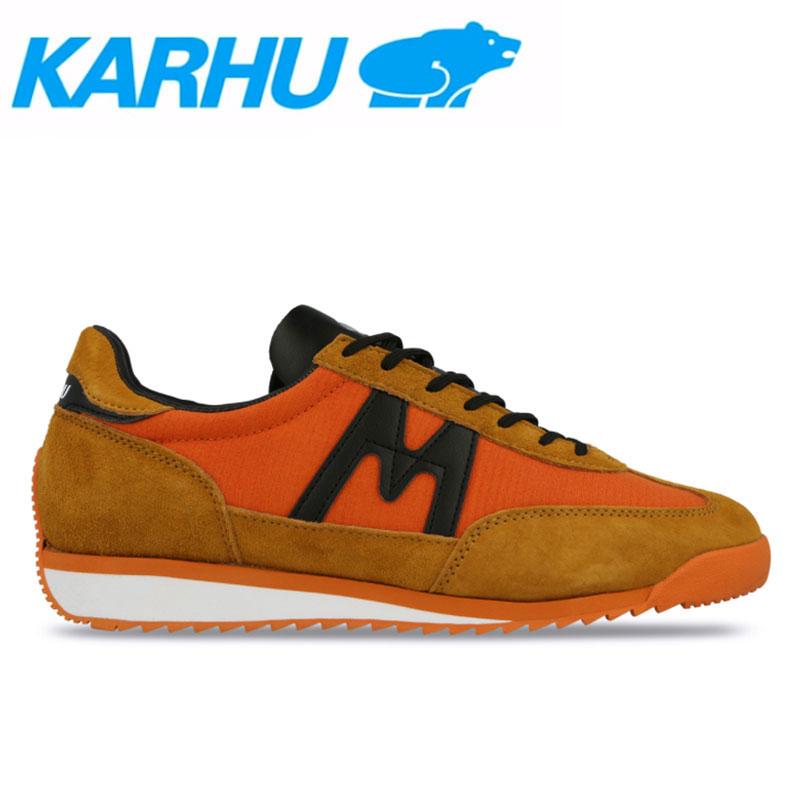 KARHU(カルフ)スニーカー レディース メンズ チャンピオンエア シューズ 靴 ユニセックス 男女兼用 スウェード/ナイロンジャファオレンジ/ブラック kh805001