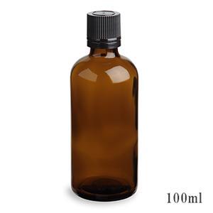 スタンダードタイプ遮光瓶(茶色)黒キャップ100ml