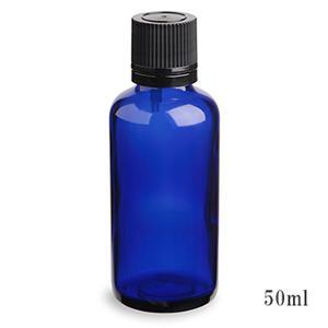 手作り化粧水やマッサージオイル等の保存に便利♪ スタンダードタイプ遮光瓶(ブルー)黒キャップ50ml (アルコール、エタノール対応)