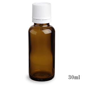 手作り化粧水の保存などにとても便利♪ スタンダードタイプ遮光瓶(茶色)白キャップ30ml (アルコール、エタノール対応)