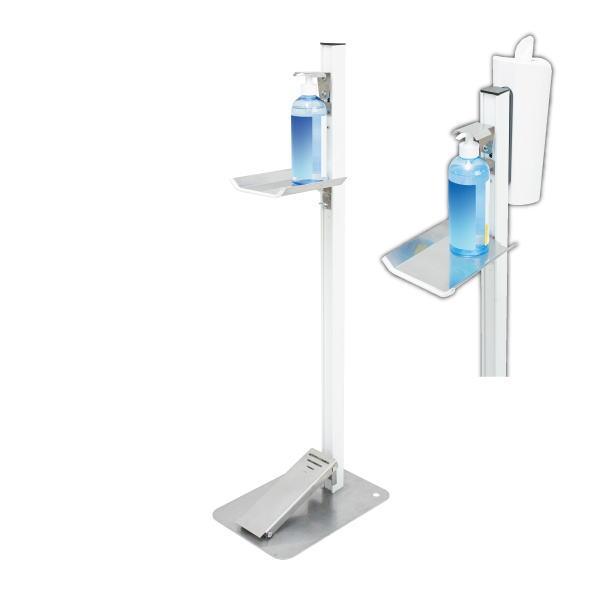 タカラ産業 足踏式消毒液スタンド(ホワイト)ティシューホルダー(ホワイト)付 TTM-08-P2W-W ペダル式なので手を使わず衛生的。