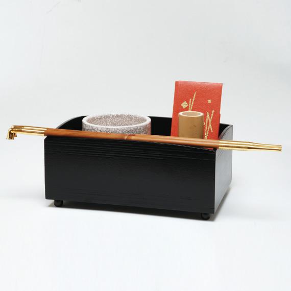 【茶道具/ 莨盆(たばこ盆)】櫛型(くしがた)莨盆 一閑塗【国内配送料無料】【代引手数料無料】