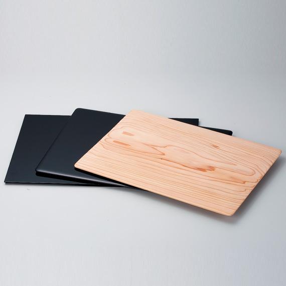 【茶道具/花台】三枚組敷板真塗矢筈板・真塗角蛤板・杉角蛤板