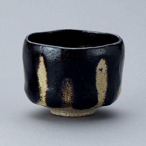 【茶道具/楽茶碗】九代 了入/黒茶碗 銘「福寿竹」 (写)