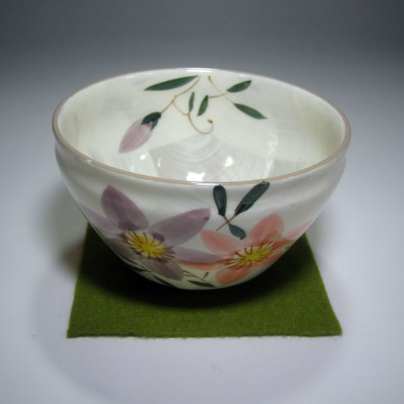 ■【茶道具 / 抹茶碗】 花言葉のお茶碗 7月・鉄線