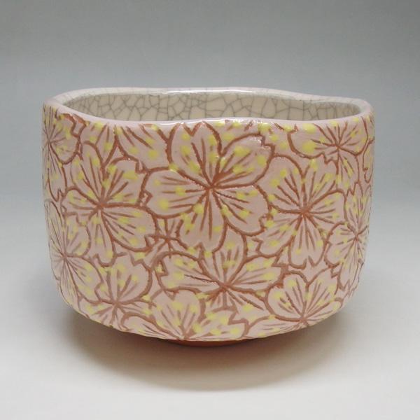 【茶道具/茶碗】楽茶碗 桜小紋 川崎和楽作 【抹茶椀】