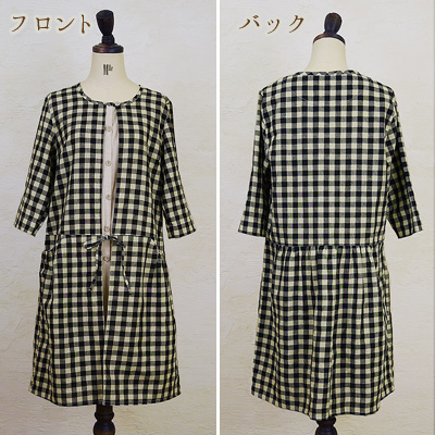●♪ layering cute the box type which is a natural taste is ◎ M,L,XL,3L ■ unhurried gingham dress●●