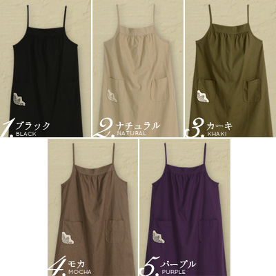 -Pockets embroidered dress change facial expressions in the knot of the Ribbon. five colors [response--