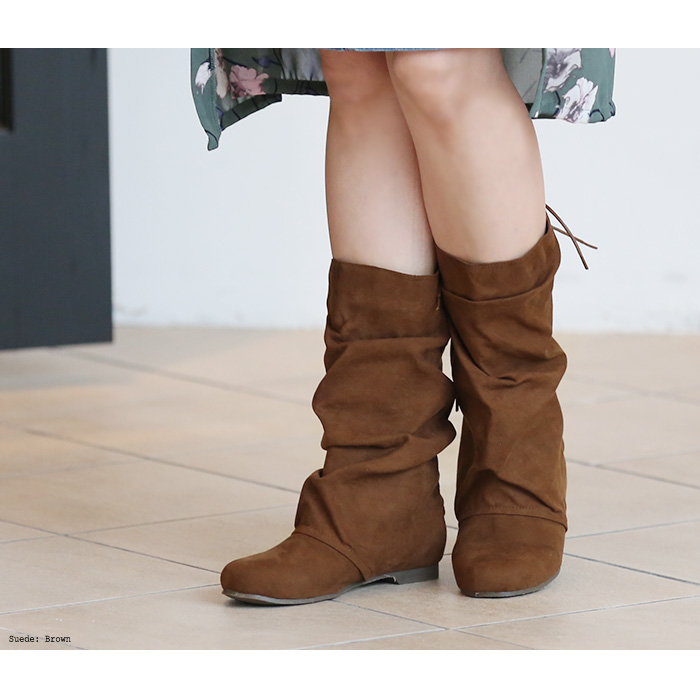 Large size women's shoes boots Nausicaa new! Long boots ◆ large big pretty loose sense of rumpled boots S.M.L.2L.3L.22.23.24.25.26cm shoes large size boots-