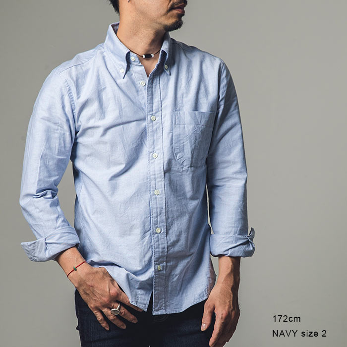 a606f317159 ・The silhouette that the on the small side was lucid a little ・Good 100%  コットンオックス of the skin familiarity ・The button-down collar which is useful ...