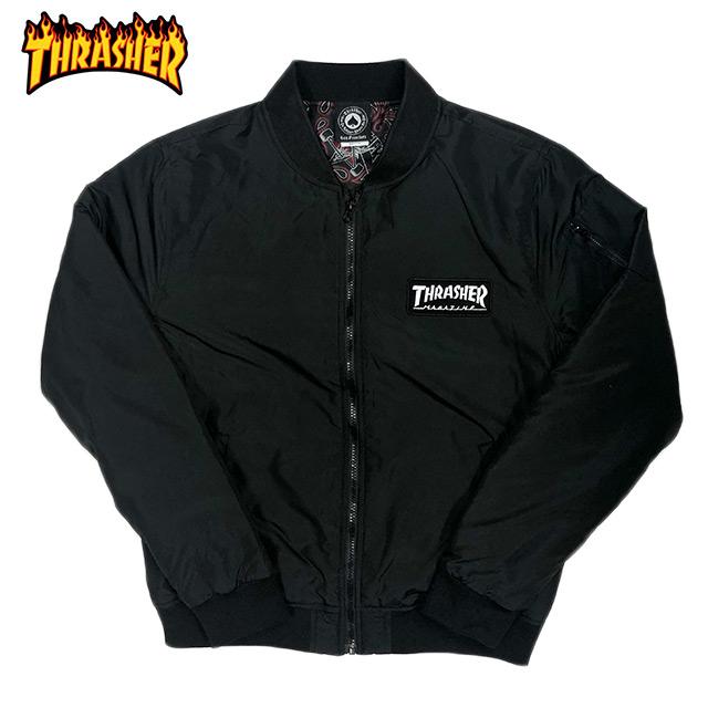THRASHER スラッシャー MA1 タイプ ボンバージャケット ナイロン 中綿ジャケット ブラック メンズ 秋冬 春 送料無料 S M L
