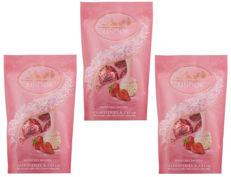 リンツ(Lindt) リンドール ストロベリーパック 60g×3袋   【個包装 六甲バター QBB スイス 高級チョコレート トリュフチョコ】