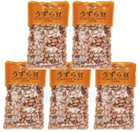 ★食感は、金時豆と似たインゲン豆★ 豆力 豆専門店のうずら豆(クランベリー豆) 1kg(200g×5袋)