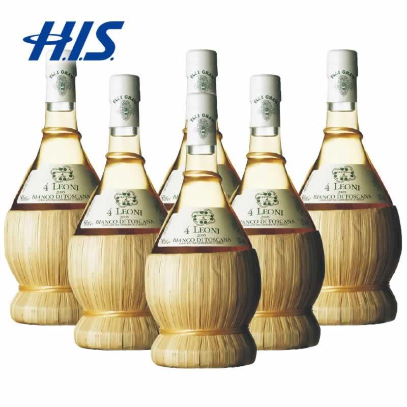 【クーポンでお得!】 HIS イタリア お土産 クアトロ レオーニ 白ワイン 6本(イタリア 土産 お土産 みやげ おみやげ ワイン 白ワイン 酒 まとめ買い)