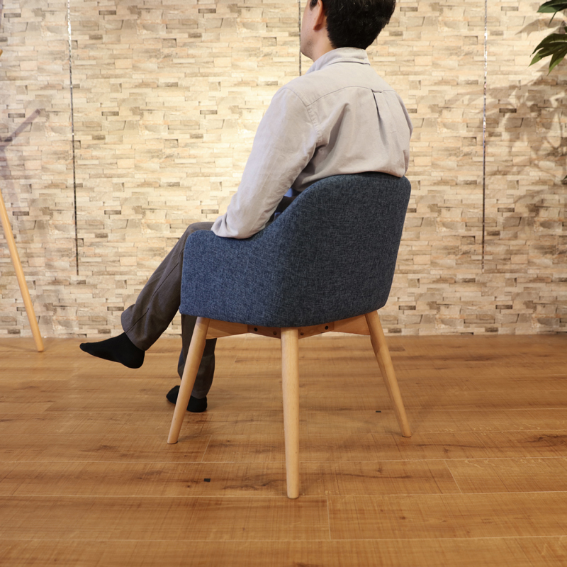 商品名|UNO ウノ ダイニングチェア 一脚単品カラー|ブルー色サイズ| 幅 50cm 奥行55cm 高さ73cm 北欧テイスト 脚部:ウレタン塗装 張地:ポリエステル肘付き 椅子 おしゃれ 食卓椅子 北欧 イスファブリックチェア 布地 ミッドセンチュリー レトロ