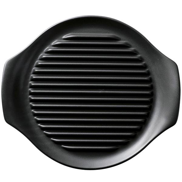 健康鍋シリーズ 26cm ヘルシーステーキ皿 (黒)