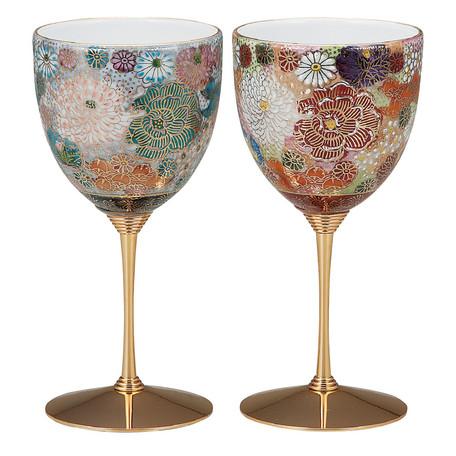 ワイングラスとしても インテリアとしても美しい 日本未発売 テーブルを華やかに彩るワンランク上のグラスは いかがでしょうか 日本限定 伝統工芸品 色変り花詰 ペアワイングラス 贈り物にも最適 九谷焼