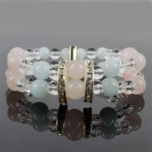 天然石 パワーストーン 水晶&アクアマリン&ローズクォーツ豪華デザインダブルブレスレット