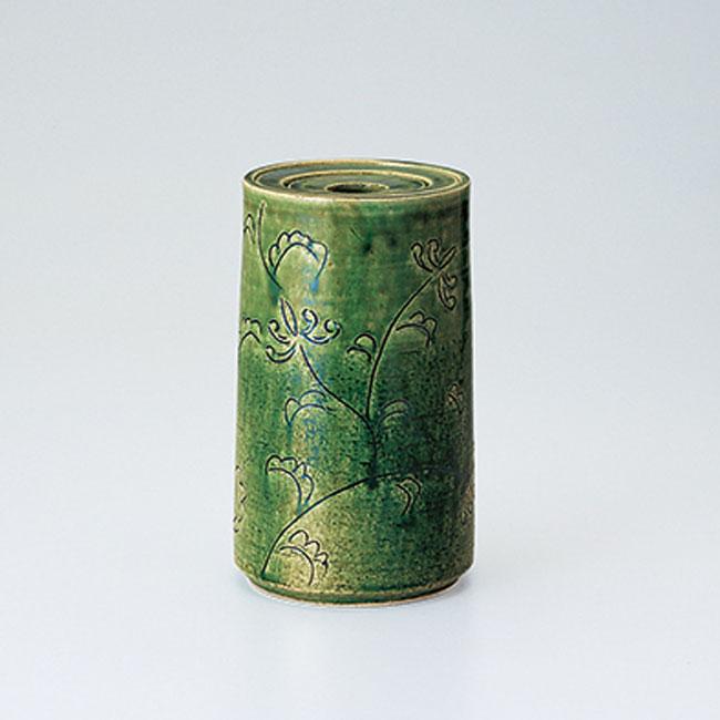 送料無料 和食器 たち吉 織部唐草 花生(桐箱入) 301-0223 花瓶 たちきち