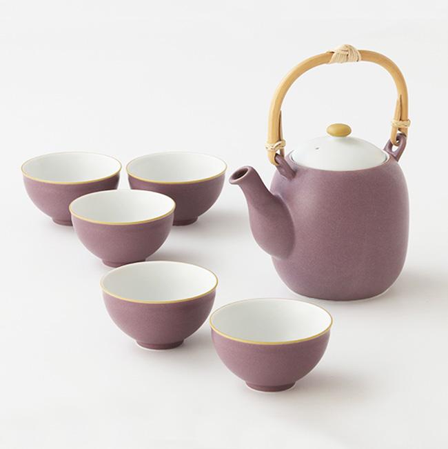 和食器 たち吉 優々 茶器 石瓶1個・お茶呑茶碗5個 1003520014 紫 急須 湯のみ セット たちきち